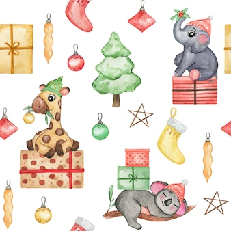 Niedliche tiere des aquarells im weihnachtshuthintergrund, weihnachtsbabytapete, nahtloses muster