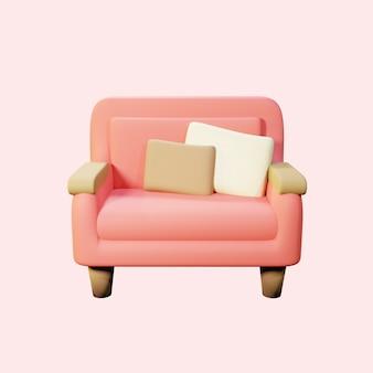Niedliches 3d-rendering rosa sofa