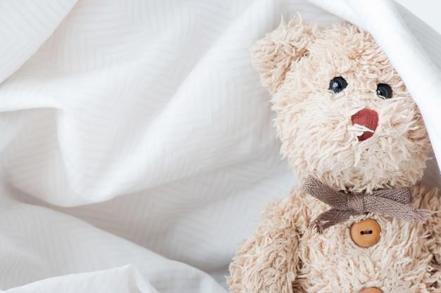 Niedliches teddybärspiel verstecken mit gewebe