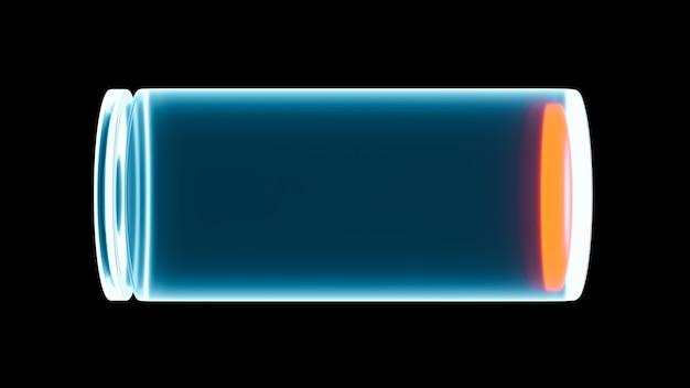 Niedrig aufgeladene 3d-batterieabbildung auf schwarzem hintergrund, statussymbol für fast leere smartphone-gerätebatterien, energie- und energietechnologiekonzept energy