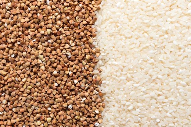 Niedrige kohlenhydrate in sortiment, hafer, reis, bohnen, buchweizen und kichererbsen