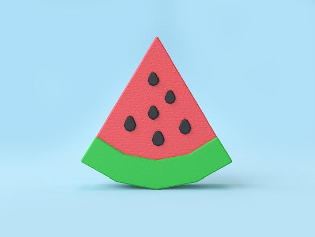 Niedrige polykarikaturart-wassermelone 3d, die blauen hintergrund überträgt