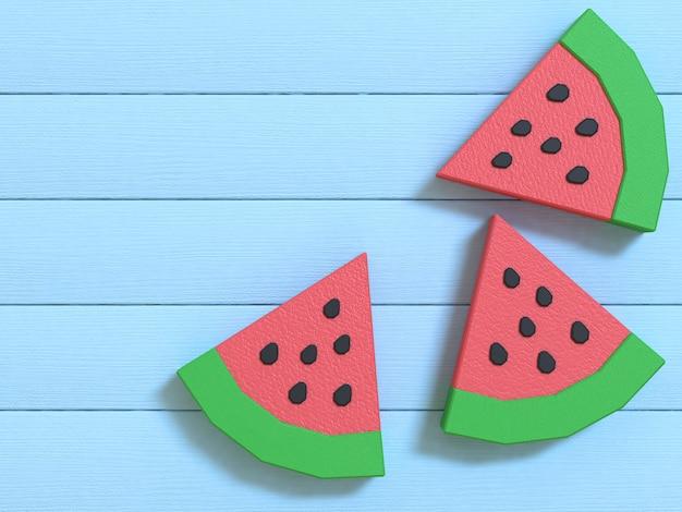 Niedrige polykarikaturart-wassermelone 3d, die purplehearthintergrund überträgt