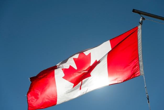 Niedrige winkelsicht des kanadischen flaggenflatterns, twillingate, süd-twillingate-insel, neufundland