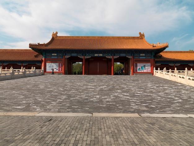 Niedrige winkelsicht von xihe-tor, verbotene stadt, peking, china