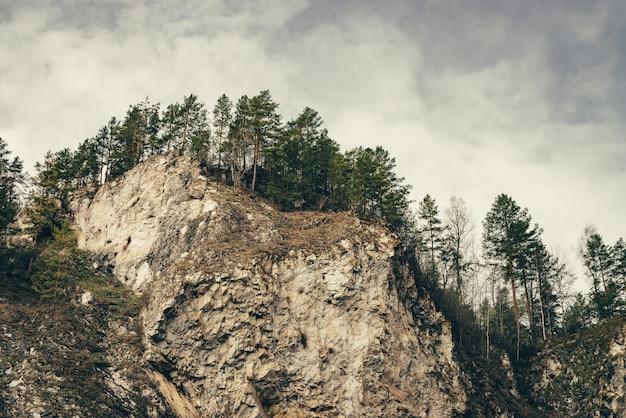 Niedrige wolken schweben zwischen bergen.