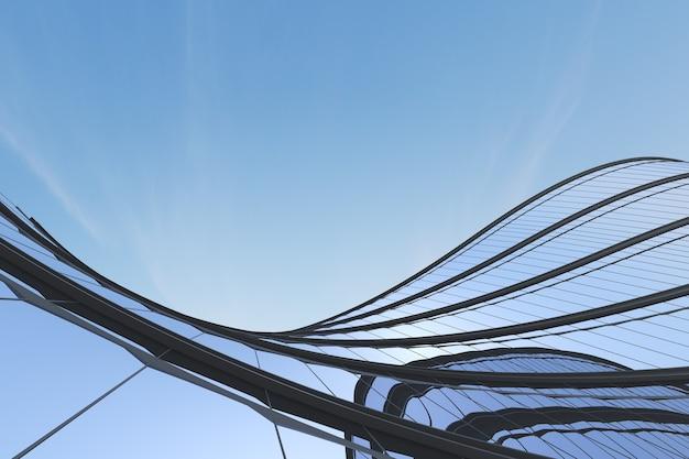 Niedriger blickwinkel auf futuristische architektur, wolkenkratzer des bürogebäudes mit kurvenglasfenster, 3d-rendering.