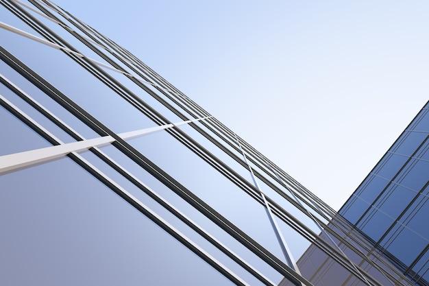 Niedriger blickwinkel auf futuristische moderne architektur, wolkenkratzer des firmengebäudes, 3d-rendering.