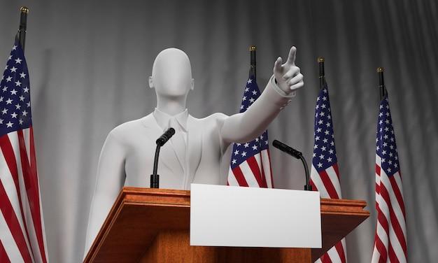 Niedriger podiumswinkel mit kandidaten- und amerikanischen flaggen für uns wahlen