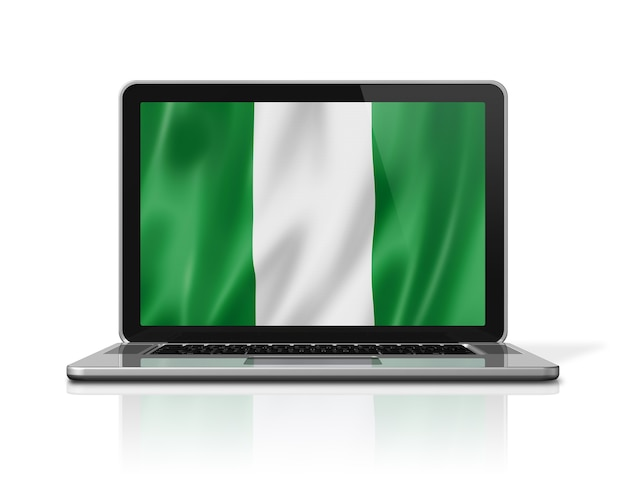 Nigeria-flagge auf laptop-bildschirm isoliert auf weiss. 3d-darstellung rendern.