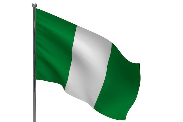 Nigeria flagge auf pole. fahnenmast aus metall. nationalflagge von nigeria 3d-illustration auf weiß