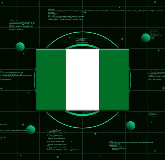 Nigeria flagge mit realistischen technologieelementen, 3d-rendering