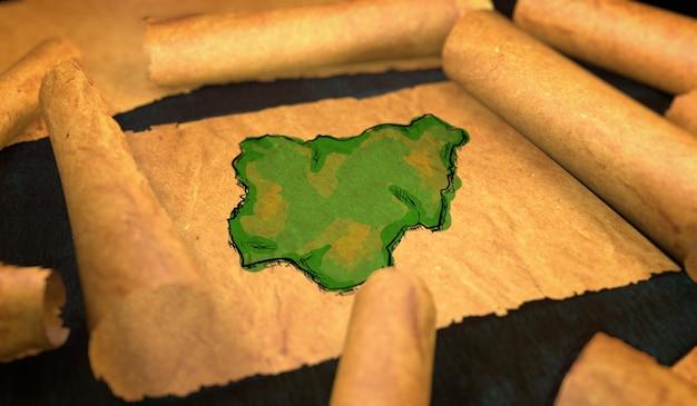 Nigeria karte malerei entfaltung alte papierrolle 3d