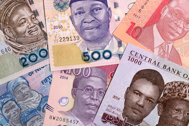 Nigerianisches geld, ein geschäft, hintergrund