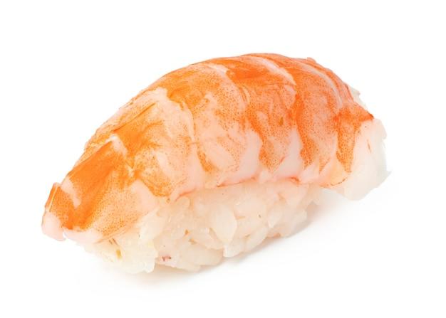 Nigiri-sushi lokalisiert auf weißer oberfläche nah oben