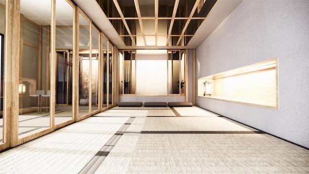 Nihon raumgestaltung interieur mit tür papier und schrank regal wand auf tatami matte boden zimmer japanischen stil. 3d-rendering