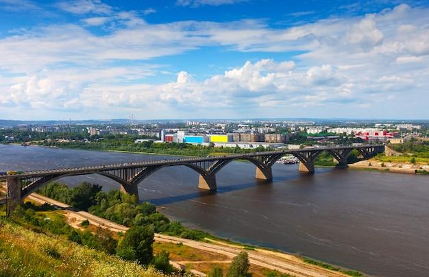 Nischni nowgorod mit molitovsky brücke durch oka river