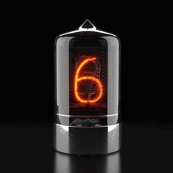 Nixie röhrenanzeige, lampengasentladungsanzeige auf dunkler oberfläche. die nummer sechs von retro. 3d-rendering.