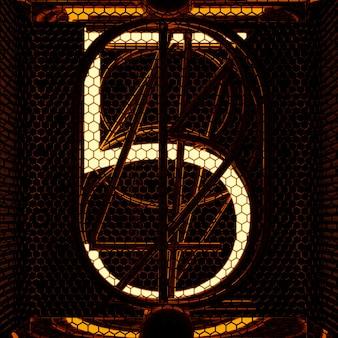 Nixie tube indikator nahaufnahme, nummer 5. retro-stil. 3d-rendering.
