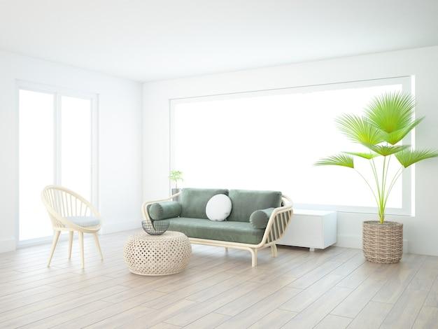 Nobles modernes weißes wohnzimmer mit samtigen textilmöbeln