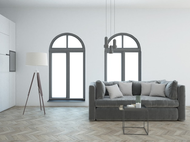 Nobles weißes luxuriöses wohnzimmer mit modernen möbeln und samtsofa