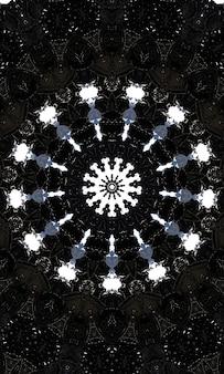 Noir-kaleidoskop. nahtloses schwarzweiss-muster. kann für malbuchseitendesign, anti-stress-hobby für erwachsene verwendet werden. noir-thema, schwarz-weiß-abbildung. vertikales bild.