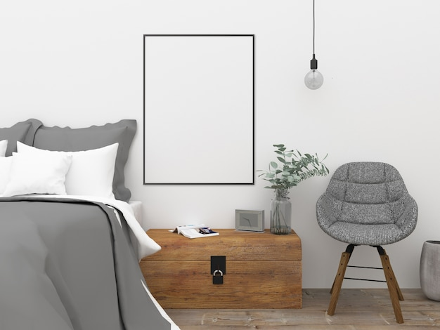 Nordic schlafzimmer - wandkunst mockup