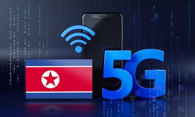 Nordkorea bereit für 5g-verbindungskonzept. hintergrund der 3d-rendering-smartphone-technologie