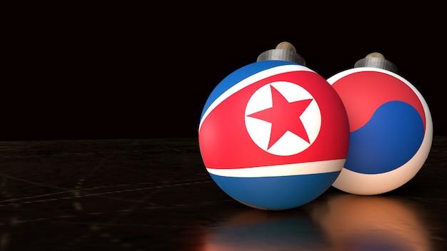 Nordkorea und südkorea flaggen auf bomben