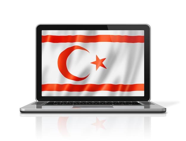 Nordzypern-flagge auf dem laptop-bildschirm, isoliert auf weiss. 3d-darstellung rendern.