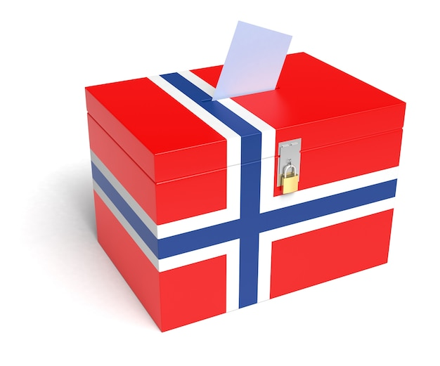 Norwegen-wahlurne mit norwegischer flagge. isoliert auf weißem hintergrund.