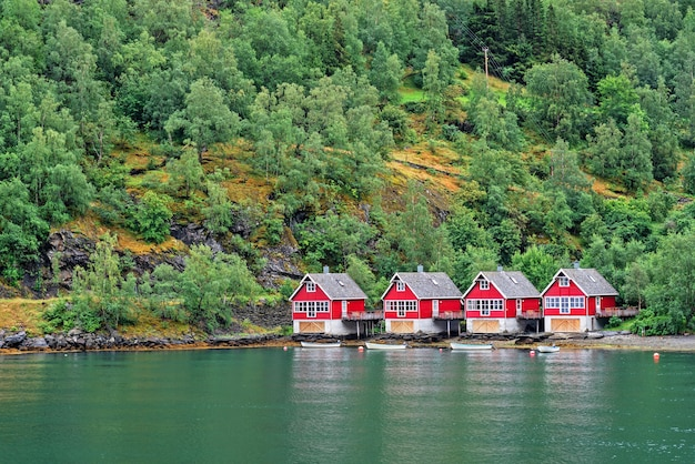 Norwegische fjordlandschaftsansicht mit roten häusern und fischerbooten