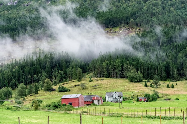 Norwegische landschaft mit rot gestrichenem wandhaus