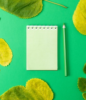 Notebook auf einem grünen hintergrund