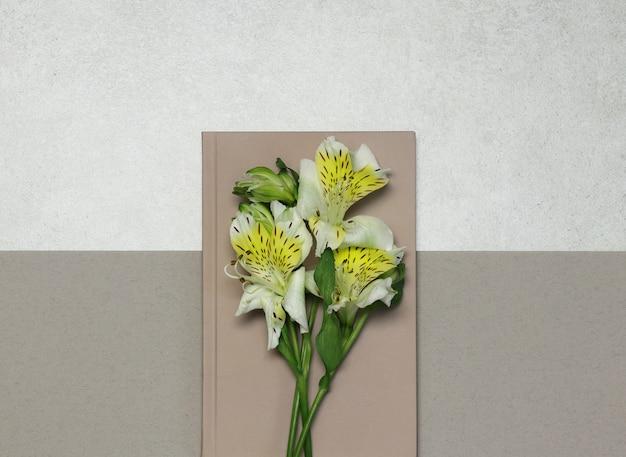 Noten mit weißen blüten auf grauem beige