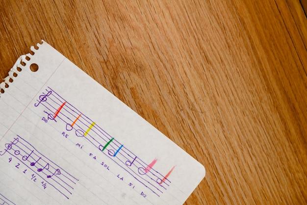 Notenblatt einer musikschule mit einer einfachen partitur mit den grundlegenden notizen und den lernzeiten für kinder.