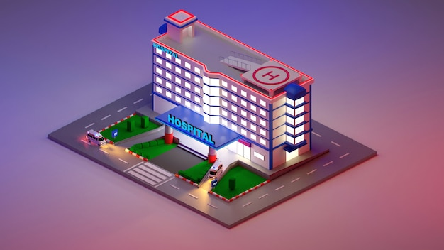 Notfallkrankenhaus-eingang im isometrischen 3d-stil. das gebäude der klinik mit lobby für patienten. die nachtszene. 3d-darstellung rendern