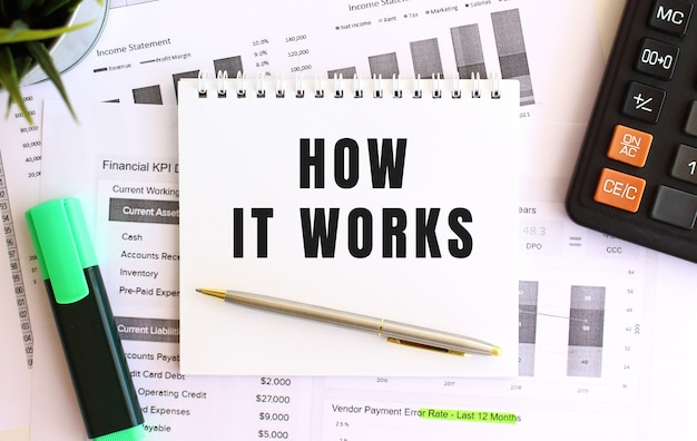 Notizblock mit text wie es funktioniert auf einer weißen oberfläche, in der nähe von marker, taschenrechner und bürobedarf.