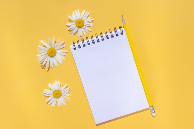 Notizbuch auf einer spirale mit einem leeren blatt, einem gelben stift und gänseblümchenblumen auf einem leuchtend gelben hintergrund.