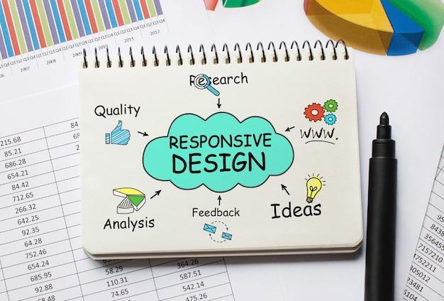Notizbuch mit werkzeugen und hinweisen zu responsive design