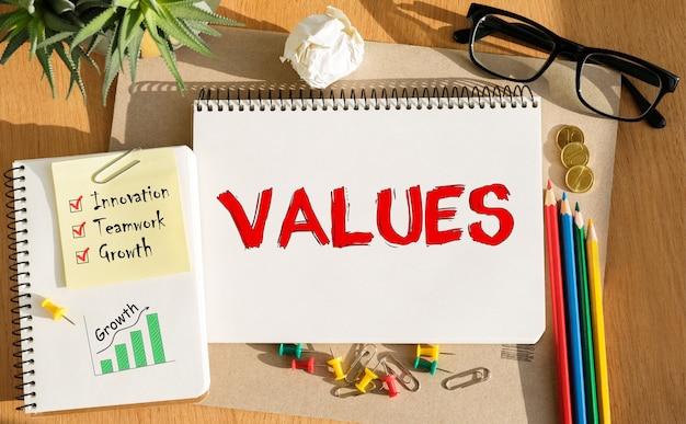 Notizbuch mit werkzeugen und hinweisen zu werten