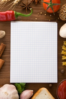 Notizbuch zum kochen von rezepten und gewürzen