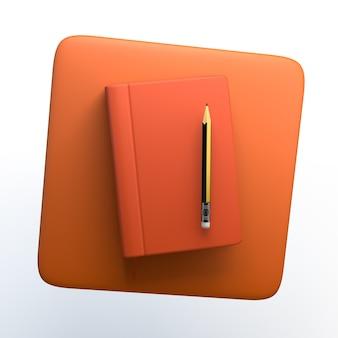 Notizen-symbol mit notizbuch und bleistift auf weißem hintergrund isoliert. 3d-darstellung. app.
