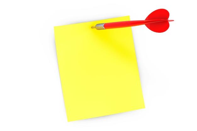 Notizpapier und dartpfeil auf weißem hintergrund