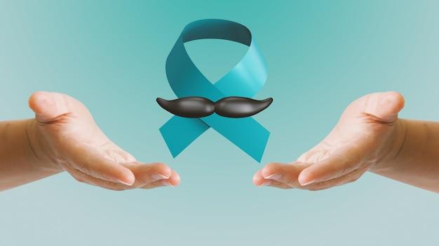November prostatakrebs-bewusstseinsmonat mit blauem band