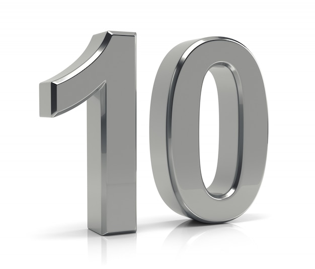 Nr. 10 getrennt auf weißem hintergrund