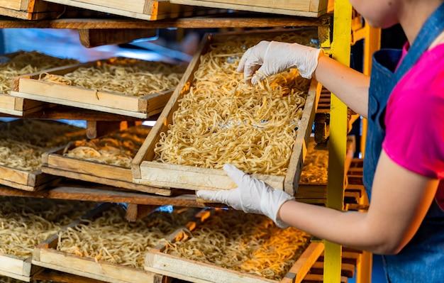 Nudelproduktion. schachteln zum ausruhen von makkaroni. technologische produktionsfabrik industriearbeit. frau mit rohen makkaroni in den händen.