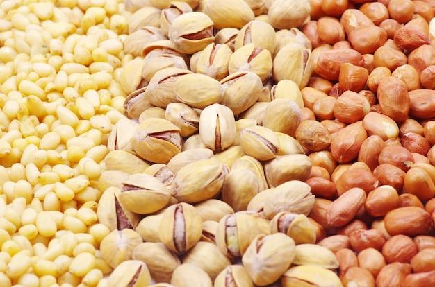 Nüsse gemischt für hintergründe oder texturen