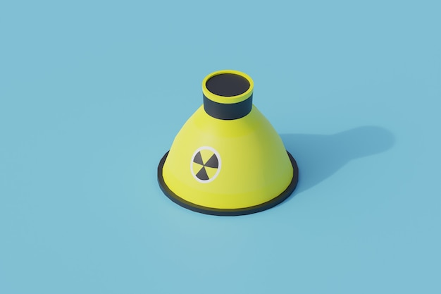 Nukleares einzelnes isoliertes objekt. 3d-render-illustration isometrisch