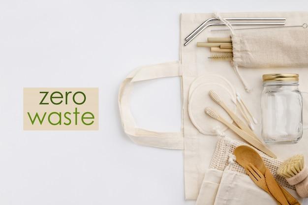 Null abfall, recycling, nachhaltiges lebensstilkonzept, flache lage